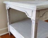 RESERVED Perfect Beach Cottage Vintage Ethan Allen Cane Top Side, Accent or Square Coffee Table