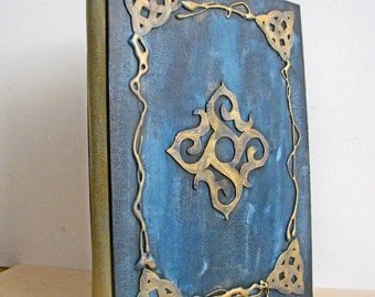 Decorated Spellbook,  Journal, Book of Shadows, Notebook, Diary with hand  stamped and distressed pages