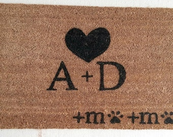 Couples Custom Made Outdoor Doormat/Welcome Mat - initials, heart, and pet initials w/ pawprint