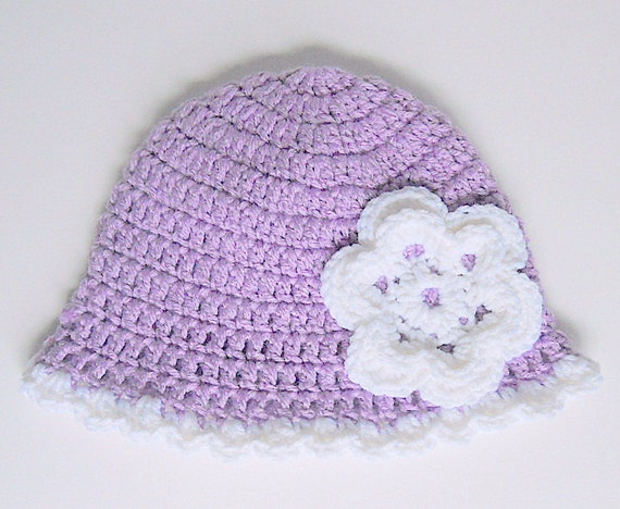 Baby  Girl Purple Hat With White Flower And Scallop Edge  3 To 9 Month Violet Cloche  Infant Lavender Fall Cap Pastel Lilac Winter Beanie