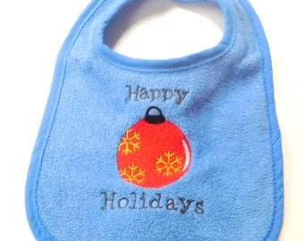 Christmas Ornament Embroidered Blue Baby Bib