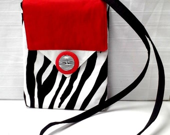 White Black Red Zebra Print Cross Body Purse Style Electronic Carrying Case