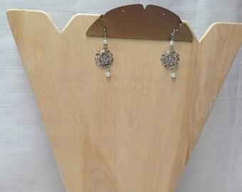 Silver Pearl Circular  Earrings