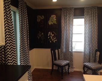 Black And White Chevron Curtain Panel
