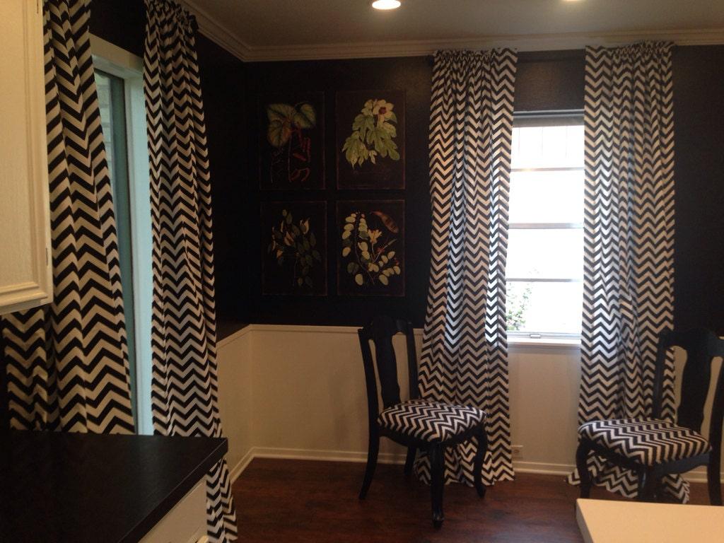 Black and white chevron curtain - Black And White Chevron Curtain Panel By Linnybirdscurtains