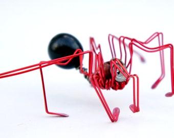decorative spider · wire sculpture · spider sculpture · wire spider · decorative sculpture · wire art · bug · spider art · red spider · kids
