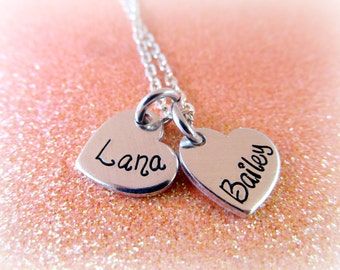 Personalized Charm Necklace - Custom Heart Necklace - Heart Name Necklaces - Name Necklace - Children's Name Necklace - everythingprettyshop