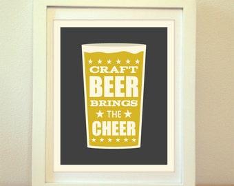 Craft Beer Brings The Cheer, Beer, Craft, Beer Art, Beer Print, Beer Poster, Bar Poster, Kitchen, Craft Beer Print, Beer Sign, Craft Beer