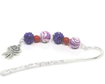 Purple Bookmark, Beaded Bookmark, Fall Inspired Bookmark, Book Lover Gift