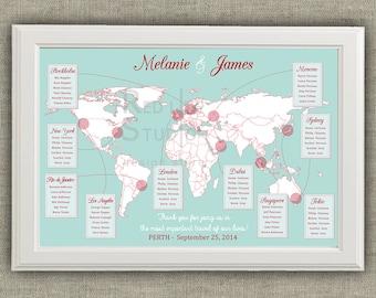 Travel Theme Wedding Seating Chart - World Map - Destinations - Printable file - wedding table plan