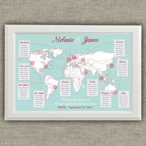 Travel theme wedding seating chart world map destinations like this item gumiabroncs Choice Image