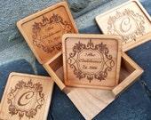 HUGE SALE Personalized Coaster Set, Custom Wood Coaster Set, Square Wood Coaster Set, Engraved Coasters,