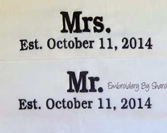 Mr And Mrs Beach Towels SET OF 2 Great Wedding Shower Gifts