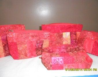 Small Red Batik Cosmetic Bags