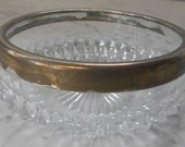"""Vintage 5"""" Cut Glass Ashtray Made in England Silver Plate Band"""