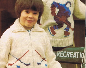Hockey sweater Childrens,  pdf pattern, cowichan style, vintage, white buffalo,true north knitting,cardigan, jacket, canadian
