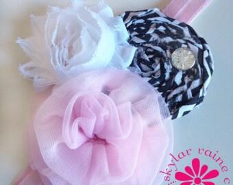 GLAM Headband - Pink & black HEADBAND - Girls Headband -Adult Headband - Boutique style - Shabby Chic - black and white