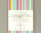 Alejandra Suite - Sarape Bright Destination Wedding Invitation - Colorful Bohemian Wedding Invite - Customizable Wedding Invitation - Sample
