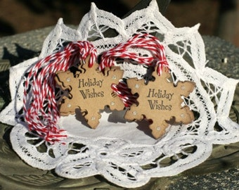 Christmas Gift Tags - Set of 8 Holiday Snowflake gift tags with twine - Holiday Wishes