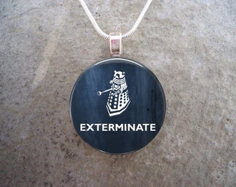 Doctor Who Jewelry - EXTERMINATE - Glass Pendant Necklace