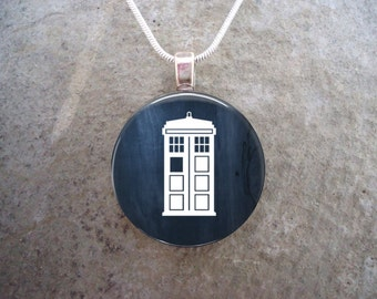 Doctor Who Jewelry - Tardis - Glass Pendant Necklace
