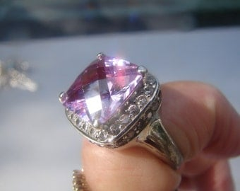 Sterling Silver Huge Fantasy Cut Stone Ring SZ 8.5 320.