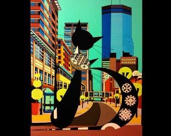 Retro Cats, Minneapolis, Nicollet Ave, Mid Century Modern inspired, 8x10 print, mod cats, vintage modern, danish modern