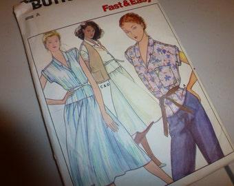 Quick Butterick Misses' Reversible Vest   Blouse and Dress Pattern 6460  Size 8-10-12  UNCUT