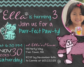 Cat Birthday Party Invitation Kitty Cat Birthday Invites Chalkboard Invitation Kitty Cat 3rd Birthday Invitations Photo Card Pink Turquoise
