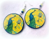Decoupage Earrings Boho Folk Blue Yellow Peacock Large Earrings Summer