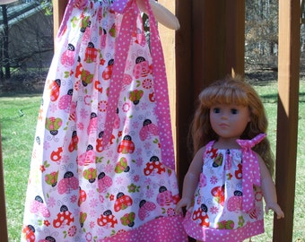 Matching Pillowcase Dresses for Your Girl & her American Girl Doll, Fits any 18 Inch Doll, size 5