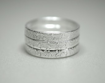 Engraved Stacking Rings / Branch Engravement Rings