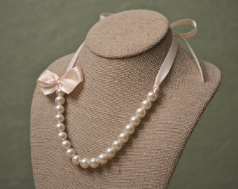 Nora: Beautiful Ivory Pearl with Blush Ribbon Tie and Bow Necklace