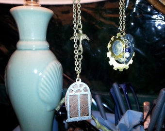 whimsical handstamped bird cage pendant