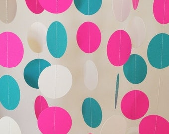 Pink, Teal & White Paper Garland, Girl's Birthday Party Decor, Bridal Shower Decorations, 1st Birthday, 10 ft. long Circle Garland