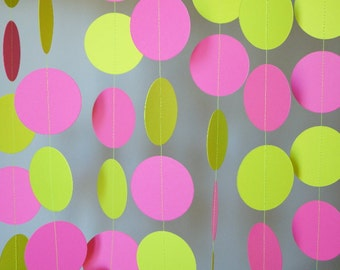 Pink and Yellow Birthday Garland, Girl's 1st Birthday, Mother's Day, Pink & Yellow Birthday Party Decorations, 10 ft. long