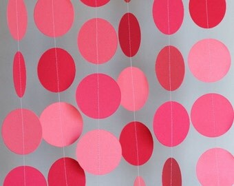 DARK PINK Paper Garland, Watermelon Pink Wedding Decoration, Bridal Shower, Baby Shower, Birthday Decor, Paper Circle Garland, 10 ft.