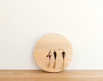 Surfing Trio Photo Transfer Circle Art Block MINI - 'California Trio' by Patrick Lajoie Fine Art Photography