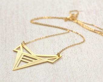 Delicate gold necklace, delicate gold necklace with unique pendant. Geometric hand made gold necklace