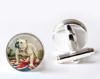 Mens Cufflinks, Bulldog Cufflinks, British Bulldog Cuff Links, Union Jack Cufflinks
