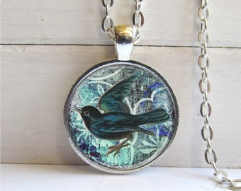 Bird Necklace, Blackbird Pendant, Bird Jewelry, Blackbird Necklace, Blue Necklace