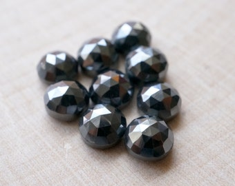 5mm faceted silver pyrite cabochon. Rose cut - (2 pieces)