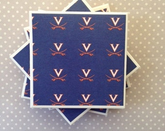 University of Virginia Tile Coasters Set of four: waterproof, felt-back