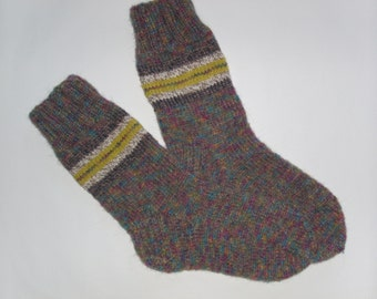 Hand Knit Wool Socks -Colorful  Mens Socks-Size Medium US10,5-11,EU44