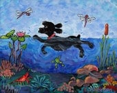 Black cocker spaniel swimming blue water splashes whimsical painting print choose your size  Peggy Johnson every good color