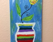 Colorful Flower Vase Painting Funky Tulip 12x24 Acrylic on Canvas