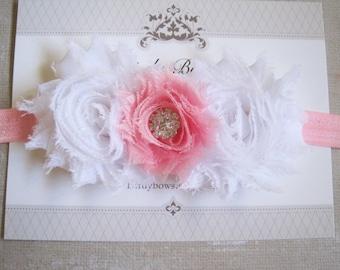 White and Pink Headband, Baby Headbands, Valentine Headband, Valentines Headband, Baby Girl Headbands, Infant Headbands