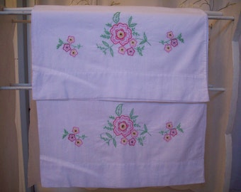 Pillow Cases - Set of Two - Hand Embroidered - Vintage