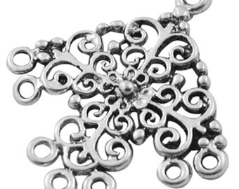 6pc antique silver chandelier component-8378