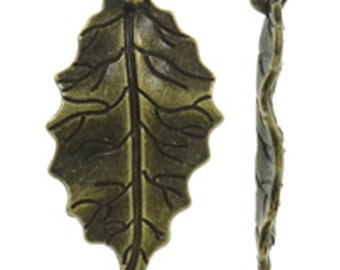 6pc 47x25mm antique bronze finish leaf pendants-9027
